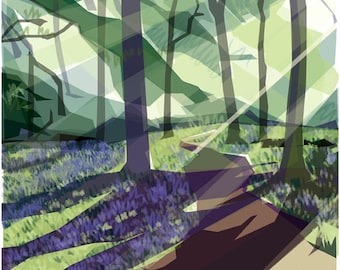 Spring in Ecclesall Woods .. limited edition giclee print