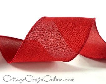"Wired Ribbon, 2 1/2"", Red Linen Look - THREE YARDS -  ""Linen Country"" Christmas, Valentine, Patriotic Craft Wire Edged Ribbon"