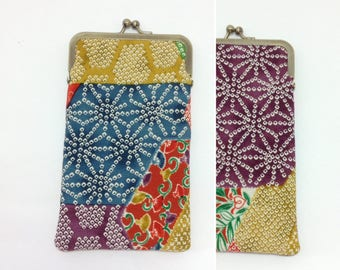 Purple geometric/Eye glass case/ Smartphone case /Japanese Vintage Kimono fabric case/Sun glass case / Hand-made/18