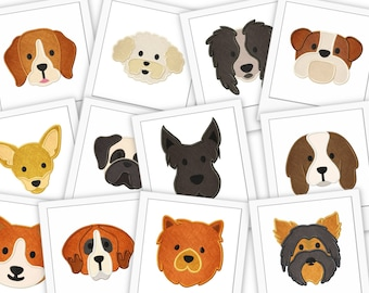 Dog Faces 24 Pack Embroidery Designs Includes Applique and Filled Stitch Embroidery Design