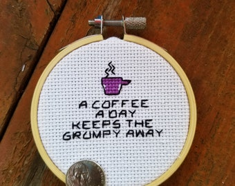 A coffee a day motivational cross stitch