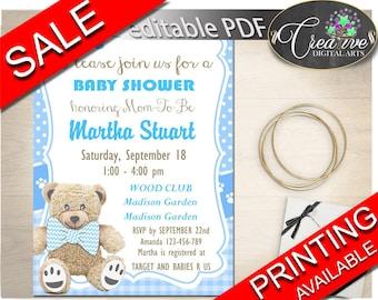 Invitation Baby Shower Invitation Teddy Bear Baby Shower Invitation Blue Baby Shower Teddy Bear Invitation instant download prints tb001