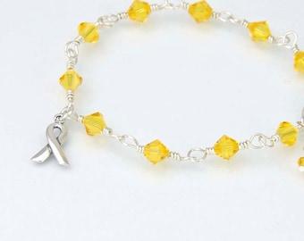 Yellow Awareness Bracelet, Bladder Cancer Awareness, Sterling Silver, Swarovski Crystals, Endometriosis Bracelet, Deployed Military, Suicide