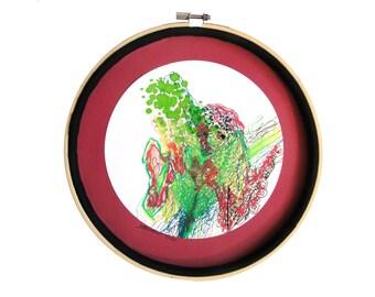 """Art pièce unique : Le dragon dans les fourrés"""", dessin techniques mixtes, mandala, décoration originale, art intuitif, déco cercle, art rond"""