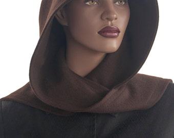 Brown Wool Blend Hood Wrap Scarf Head Hoodie Handmade