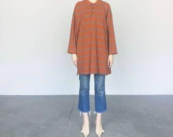 Izod übergroße Rost Streifen Shirt / Kleid (XL)
