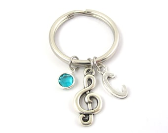 Music Keychain- choose a birthstone and initial, Treble Clef Keychain, Music Keyring, Music Gift, Music Teacher Gift, G Clef Keychain, Music