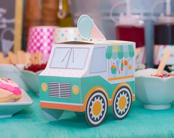 Teal & Orange Ice Cream Social Party Favor Box, Food Truck, Paper Toy, Candy box, Printable Instant Download