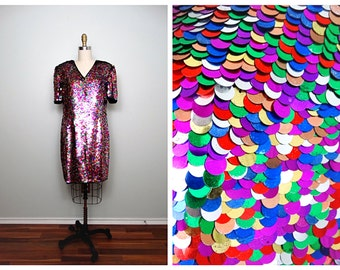 CONFETTI All Sequin Dress // Rainbow Embellished Paillettes Sequined Party Dress Size 10