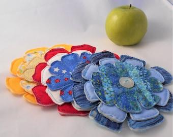 Set of 3 Handmade Flower Pins