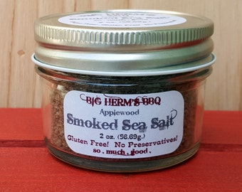 Applewood Smoked Sea Salt by Big Herm's BBQ, barbeque, grill, smoked meat, gourmet popcorn, edibles food, bbq rub, caramels