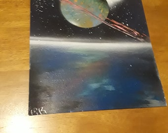 Colorful ringed Planet & moon Spray paint art