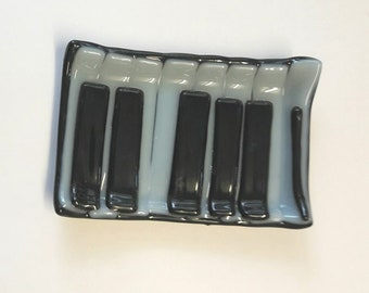 soap dish .piano keyboard hand made fused glass.