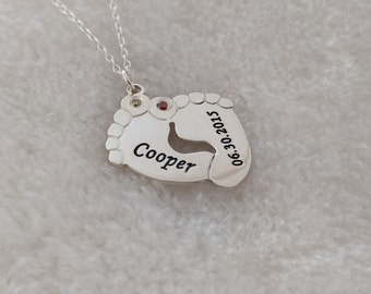 Footprint necklace etsy quick view engraved baby footprint necklace aloadofball Choice Image