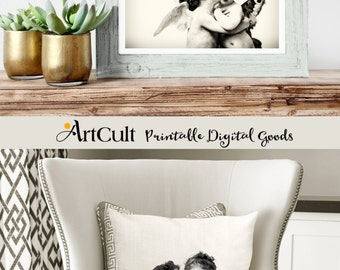 2 Printable images THE KISS, to print on fabric or paper, transfer images for tote bags, t-shirts, pillows, wall artwork home decor, ArtCult