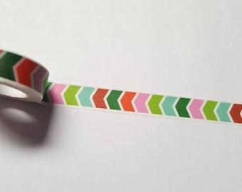 Chevron washi tape, Washi tape, Planner supplies, Paper tape, Chevron, Bright chevron, Zigzag, Geometric, Bright colours, Multicolour