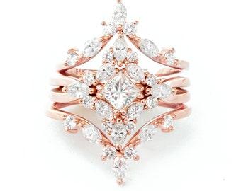Square Diamond Cluster Wedding Three Rings Set Unique Engagement Ring, Altair Princess Cut diamond wedding set Cluster marquise diamond ring