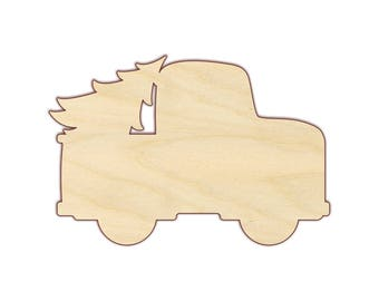 Pickup Truck with Christmas Tree - Unfinished Wood - 170454