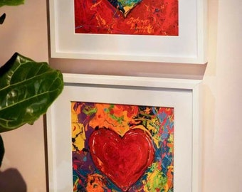 TWO 30 x 30 LARGE Art Pair , Red Heart wall art, Abstract Heart , Gift for sweetheart, Heart Print by Johno Prascak of Pittsburgh