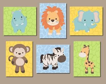 SAFARI Nursery Decor, Safari Nursery Wall Art, Safari Nursery Prints Or Canvas, Safari Animal Prints, Safari Animals Decor, Picture Set Of 6