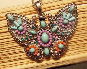 Silver and Turquoise Butterfly Necklace