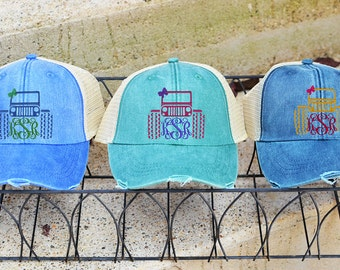 Monogram Hat, Distressed Trucker Hat, Baseball Caps, Monogram Trucker Hat, Trucker Hat, Trucker Cap, Distressed Baseball Cap