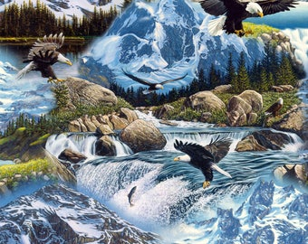 BTY MYSTERIOUS MOUNTAIN Eagles, Stream Print 100% Cotton Quilt Crafting Fabric by the Yard