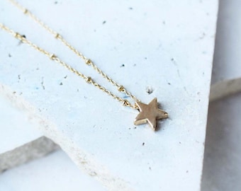 Gold star necklace star charm necklace gold layering necklace delicate gold necklace gold charm necklace gold layering necklace