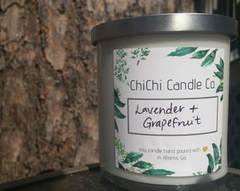 Lavender & Grapefruit Soy Candle  | 10 oz Candle in Glass Tumbler with Lid