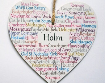 Holm Hanging Heart Decoration, 10cm wide wooden Heart, Holm Orkney Islands.