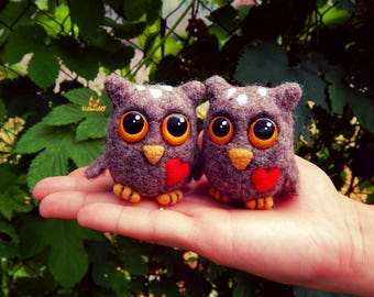 Needle felt owl Owl sculpture Wool Felt Felt owl Felt sculpture Felted miniature Needle felted animals Owl figurine birthday gift for man