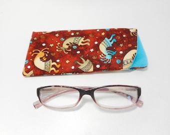 Kokipelli Eyeglass Case, Brown Eye Glass Case, Fabric Eyeglass holder, Readers Case, Sunglass Case