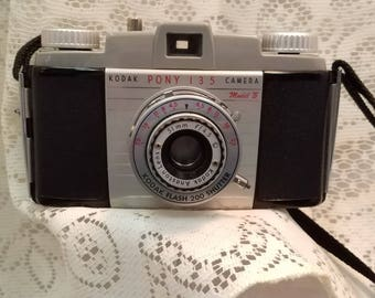1950's Bakelite Kodak Pony 135 Camera Model B with Case Made in America Vintage Collectible Camera Free Shipping