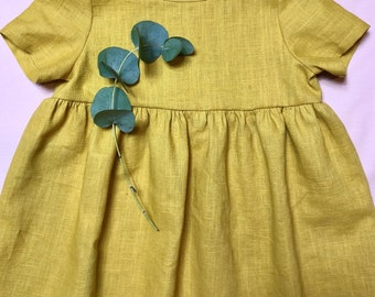 Mustard Linen Dress , Girls Linen  Dress , Yellow Linen Dress, Linen Girls Dress, Summer Dress, Cute Girls Dress, Linen Dress