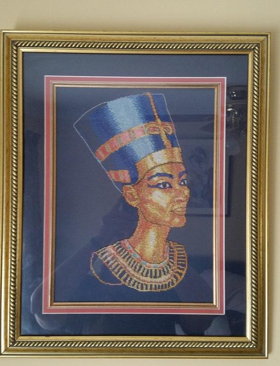 P101.  Queen Nefertiti finished cross stitch.