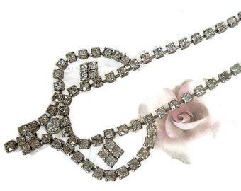 Vintage Clear Rhinestone Necklace Choker, Statement Necklace, Bib Necklace, Bridal Choker, Wedding Jewelry