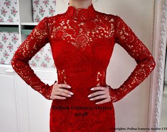 Red Lace Dress, Short Red Dress, Short Lace Dress, Guipure Lace Dress, Short Guipure Dress, Red Wedding Dress, Illusion Lace Dress
