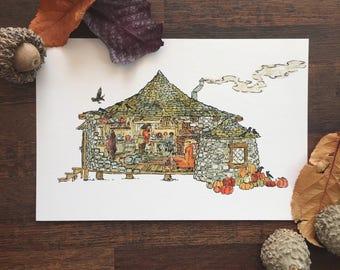 Tea with Hagrid // Harry Potter Postcard