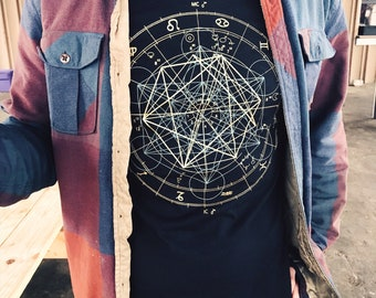 Glow in the Dark Zodiac Metatrons Cube Crew Neck Jersey Cotton Tee