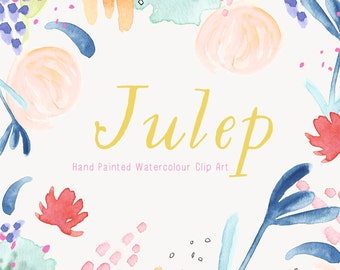 Watercolour Flowers - Hand Painted Clip Art - Julep