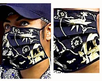 Michael Jackson Inspired Black and Gold Printed Face Mask