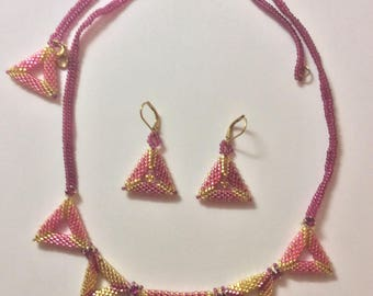 Triangle Style Tri-Color Necklace and Earrings
