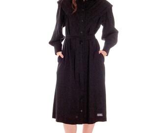 Vintage 1970s Marimekko Womens FIne Wool Shirt Dress 36/8 Pleated V Yoke