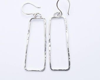 Geometric Earrings, Long Hammered Silver Earrings, Boho Earrings,  Gift for Her, Silver Earrings, Rectangle Earrings, Unique Earrings