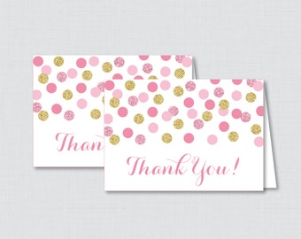 Pink and Gold Printable Glitter Thank You Card - Instant Download - Pink and Gold Polka Dots Baby Shower Thank You Card - 0008-p