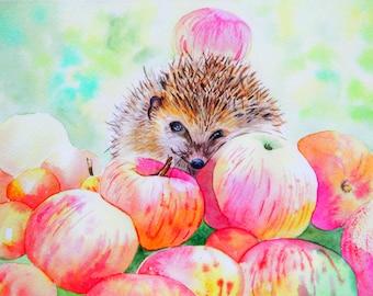 Hedgehog original watercolor Animal art Nursery decor Nursery wall art