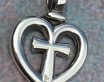 James avery clechee cross sterling silver pendant on sterling james avery cross heart sterling silver pendant on a black suede cord aloadofball Gallery