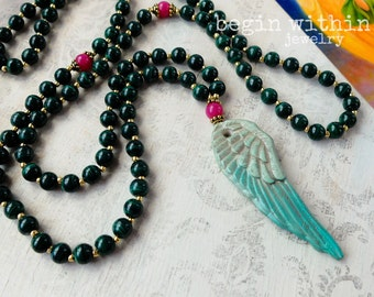 Archangel Raphael Mala Beads | Malachite Prayer Beads | Angel Wing Mala Necklace | Angel Jewelry