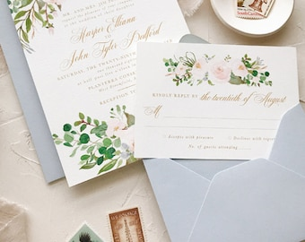 Floral Watercolor Wedding Invitation Suite, Dusty Blue and Blush Wedding