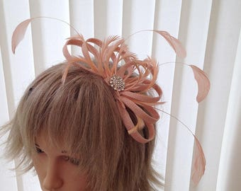 Peach  sinamay fascinator, hair accessories, can be custom made to match your outfit